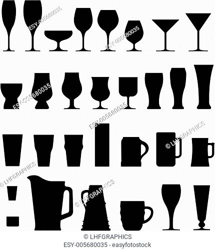 Alcohol and coffee glasses, mugs, and glassware