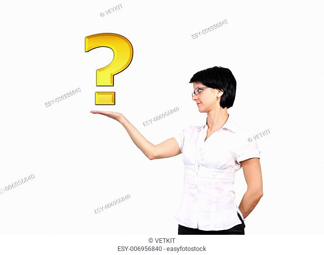 question mark in hand on a white background