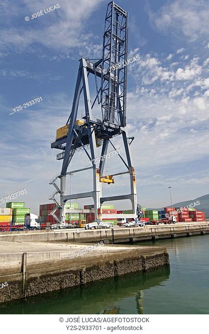Port - container dock, Villagarcia de Arosa, Pontevedra province, Region of Galicia, Spain, Europe