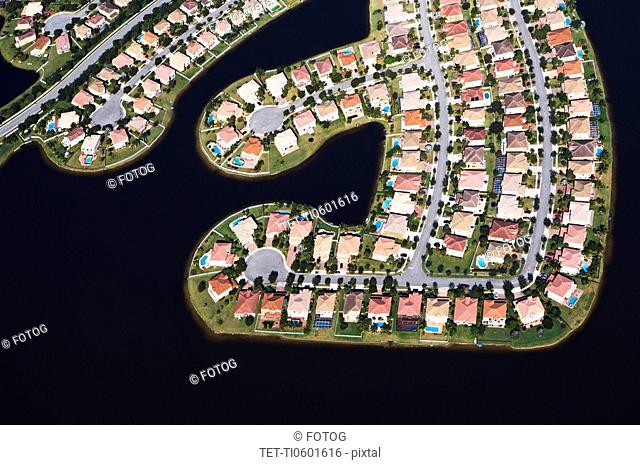 Aerial view of waterfront houses