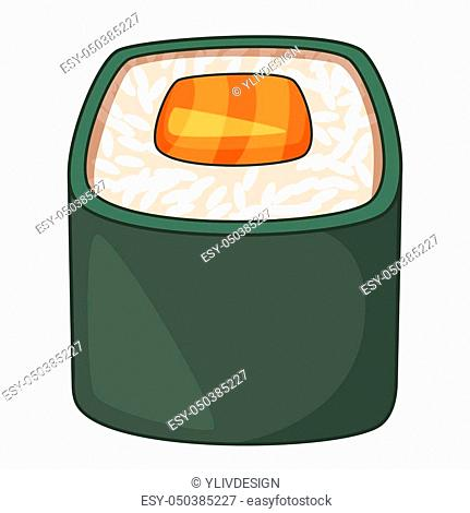 Roll, traditional Japanese food icon. Cartoon illustration of roll, traditional Japanese food icon for web