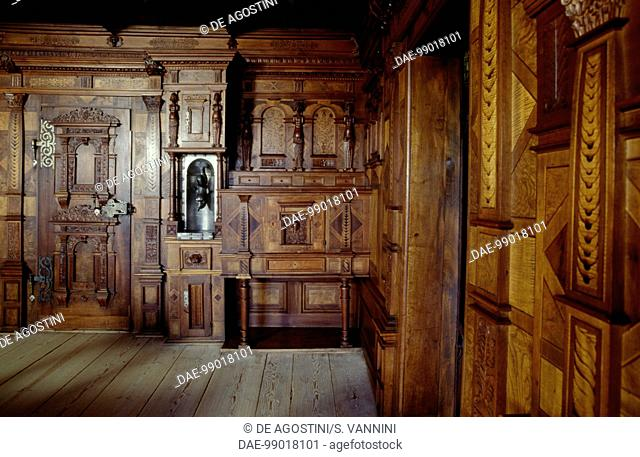 Room with wood paneling, Spiez Castle, Canton of Bern, Switzerland