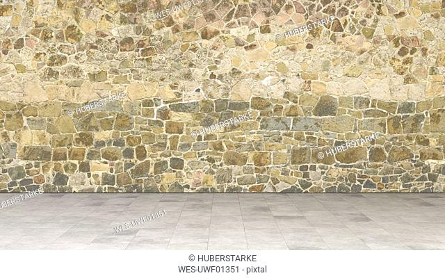 Natural stone wall, 3d rendering
