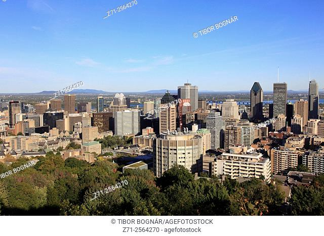 Canada, Quebec, Montreal, skyline, aerial view,