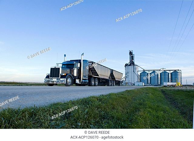 a farm truck leaving an inland terminal after unloading crop, near Winnipeg, Manitoba, Canada