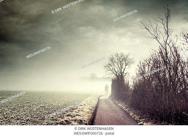 Gernany, North Rhine-Westphalia, Silhouette of a man standing on foggy country road
