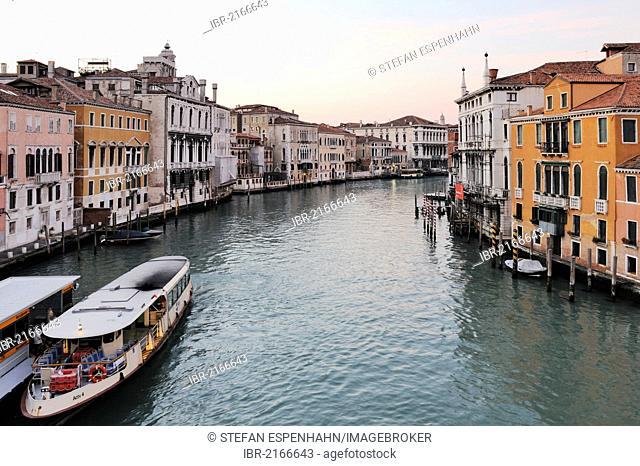 View from the Accademia Bridge, Ponte dell'Accademia, on the Grand Canal, Canal Grande, Palazzo Mocenigo Gambara, Palazzi Contarini degli Scrigni e Corfù