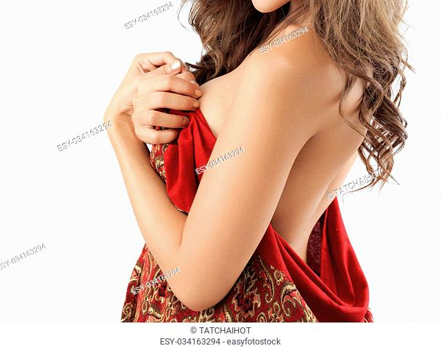 Beautiful slim woman's body on white background