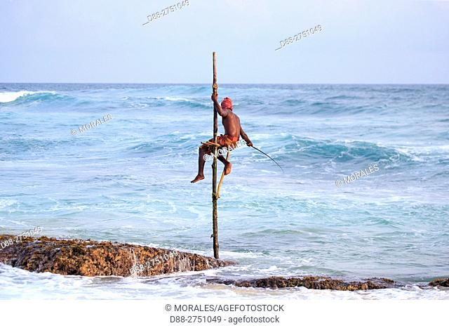 Asia, Sri Lanka, Indian Ocean, Weligama, Stilt fishermen near the beach, traditional fishing
