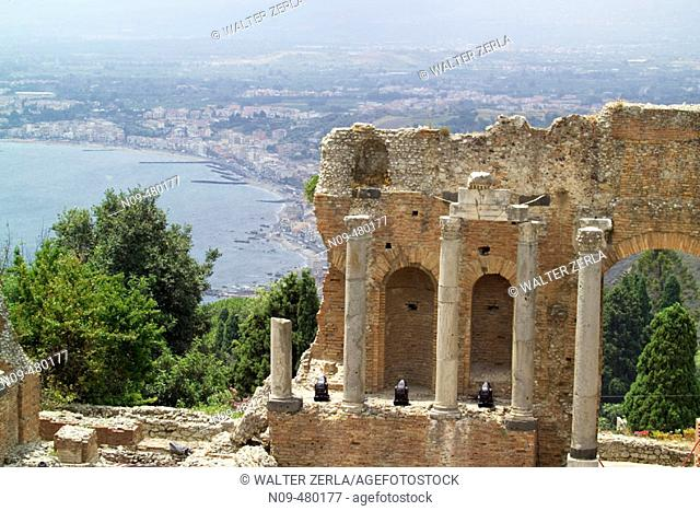 Ruins of old Greek theatre rebuilt in Roman times, Taormina. Sicily, Italy