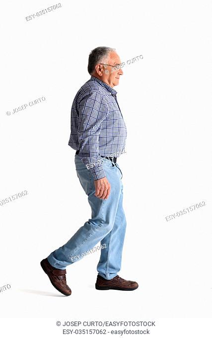 Full portrait walking on a white background