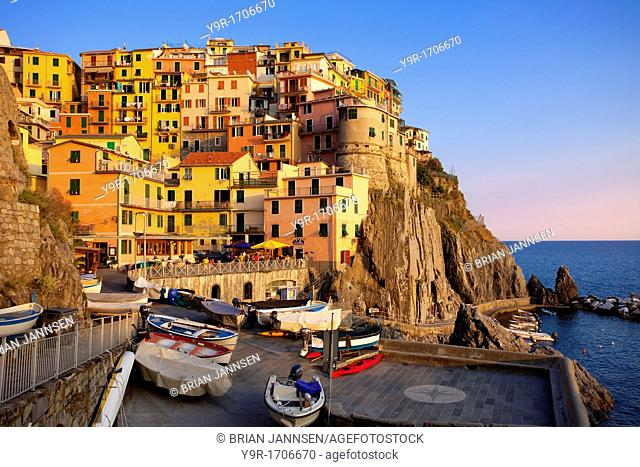 The medieval village of Manarola in The Cinque Terre, Liguria Italy