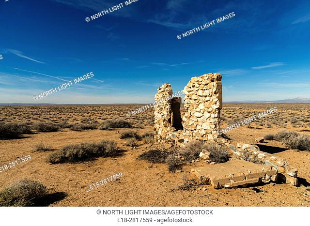 USA, CA, Barstow. Remains of old home in the Mojave Desert beside Hwy 56 near Barstow