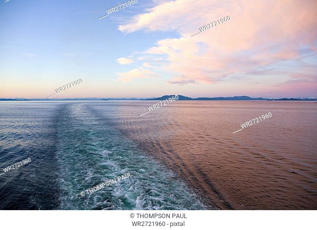Wake, Cruise Ship, Sunset, Inside Passage, Alaska