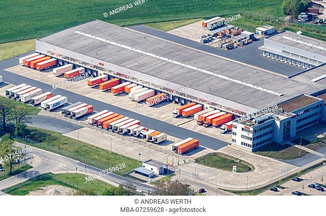 Parcel service TNT, logistic road hub at airport Hannover Langenhagen, Hannover, Lower Saxony, Germany