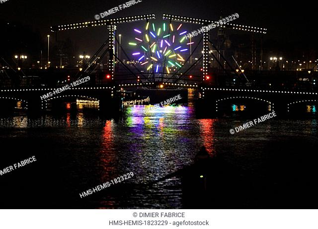Netherlands, Amsterdam, Illuminated on the Amstel River by artist Jacques rival, during the festival of lights Amsterdam (December 6 to January 19)