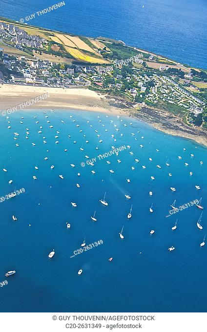 Granville and its marina, aerial shot, Cotentin, 50, Normandy, France