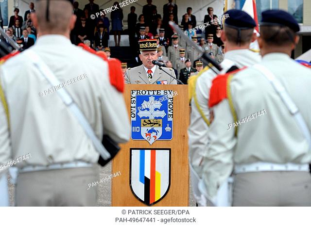 Chief of staff of the French Army Bertrand Ract-Madoux speaks during a military ceremony on occassion of the withdrawel of the 110th infantry regiment of the...