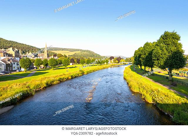 The River Tweed at Peebles with church tower on a sunny day, Scotland, Europe