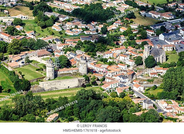 France, Vendee, Apremont, the village and the castle (aerial view)