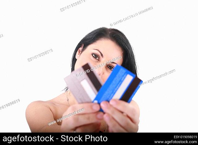 credit cards in a hand of the woman, focus on woman