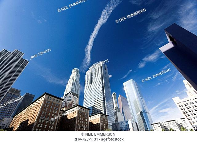 Vapour trail over Downtown, Los Angeles, California, United States of America, North America
