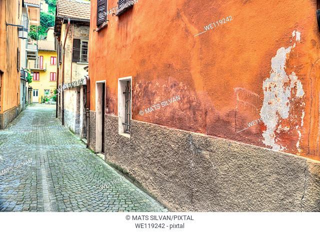 Old colorful stone alley in locarno ticino