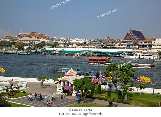 Overlooking the palace on opposite river bank from Wat Arun, Bangkok, Thailand