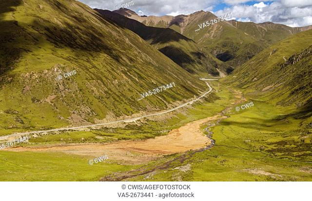 Tibet, China - The view of 318 national road in the wild with beautiful landscape
