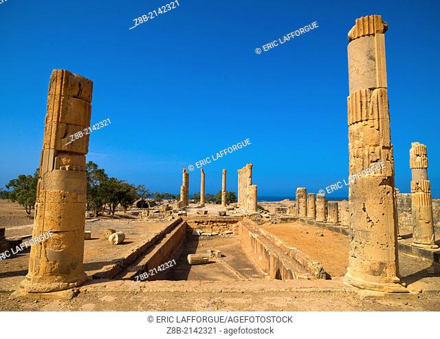 PTOLEMAIS, LIBYA - APRIL 09: Ptolemais was one of the ancient capitals of Cyrenaica, its Latin name in Roman times was Tolmeta