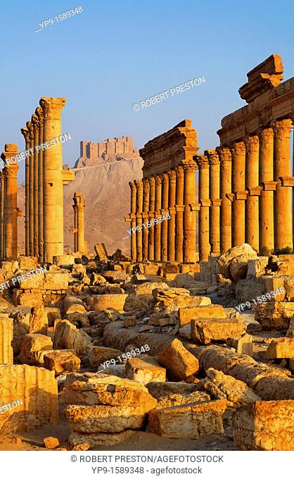 The Colonnaded Street and the Arab Castle, Palmyra, Syria