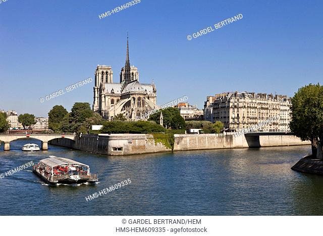 France, Paris, Seine river banks listed as World Heritage by UNESCO, a river boat passes in front of Notre Dame de Paris cathedral on Ile de la Cite