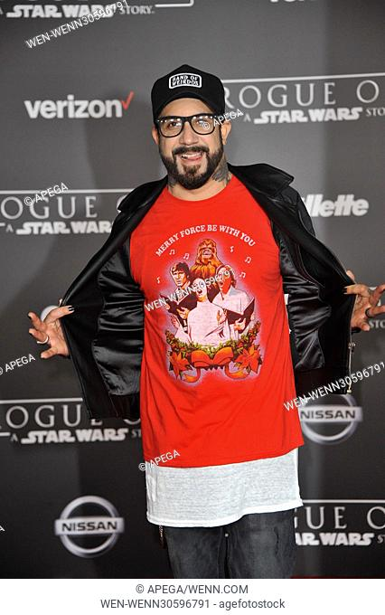 World premiere of 'Rogue One: A Star Wars Story' held at Pantages Theatre - Arrivals Featuring: A.J.McLean Where: Los Angeles, California