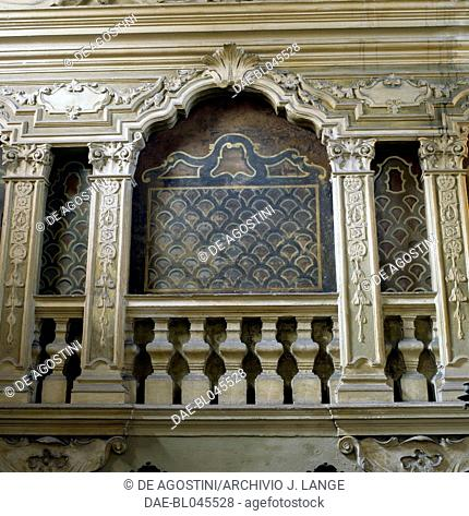 The bima or bema where stands the priest, Norsa-Torrazzo synagogue, Mantua. Italy, 16th-18th century