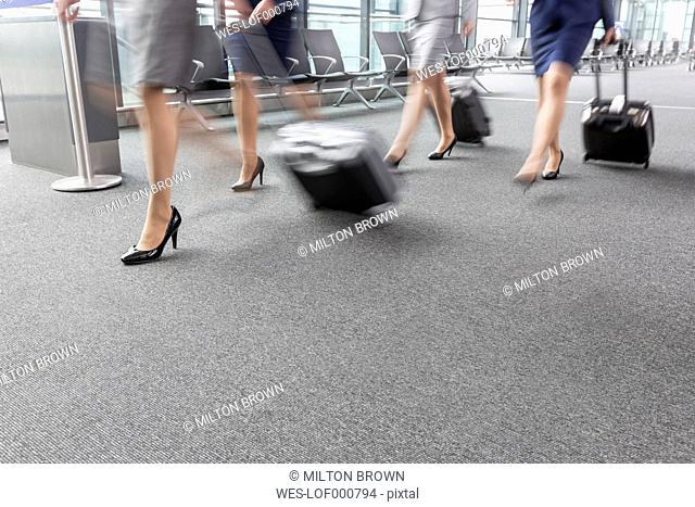 Low section of businesswomen and flight attendants walking at the airport