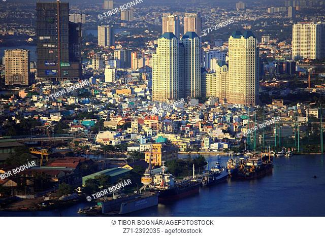 Vietnam, Ho Chi Minh City, skyline, aerial view, Saigon River,