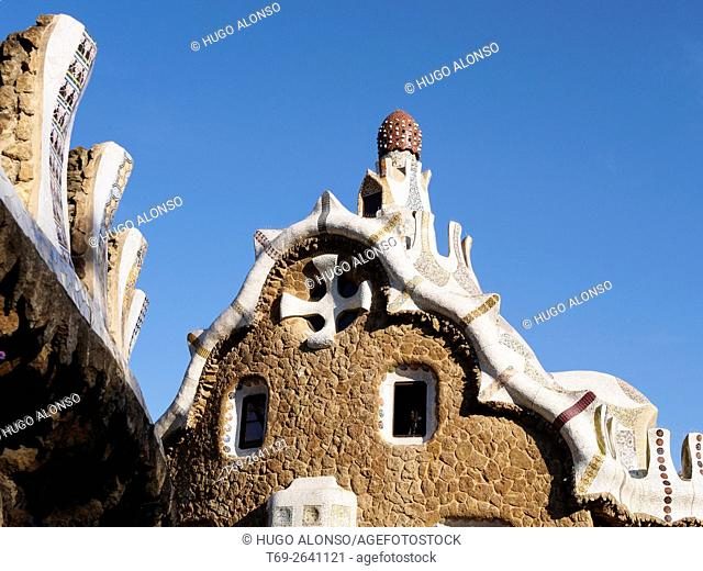 Roof of Gatehouse in Park Guell of Architect Antoni Gaudi, Spain, Catalonia, Barcelona