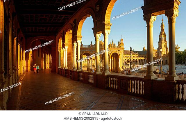 Spain, Andalusia, Seville, Place of Spain, main building of the Universal Exhibition of 1929 (Episode II)