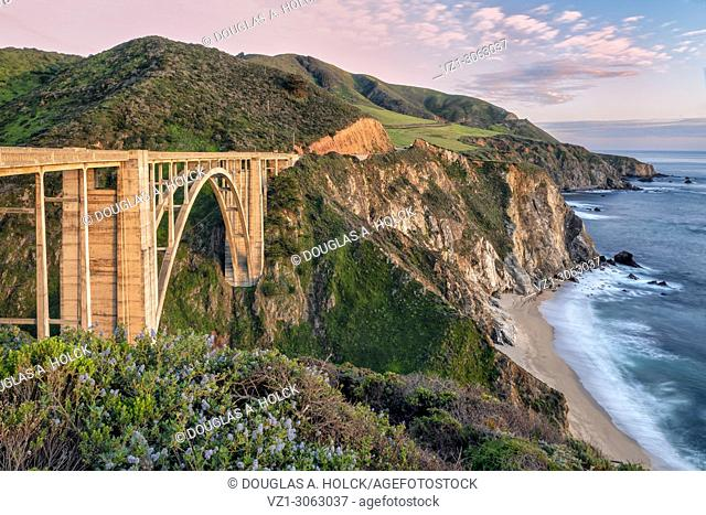Sunset on Big Sur's Bixby Bridge, California, USA