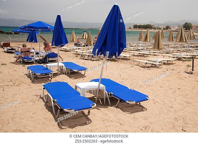 People at Kissamos beach, Chania Province, Crete, Greek Islands, Greece, Europe