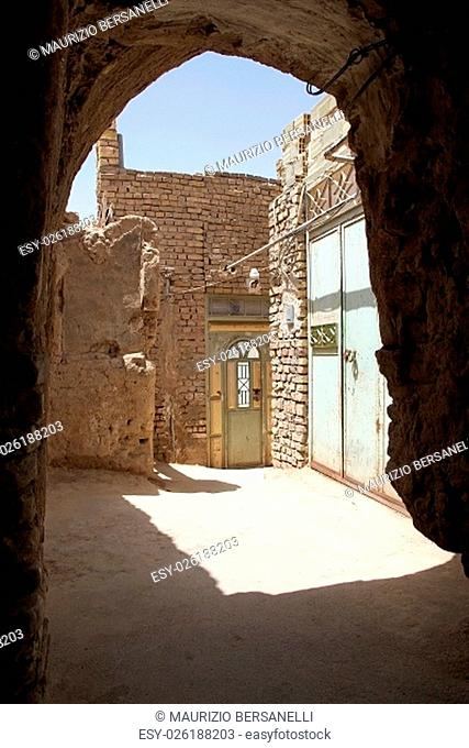 Architecture details along the narrow street in the old town of Yazd, Iran. The city has a history of over 3000 years, dating back to the Median Empire