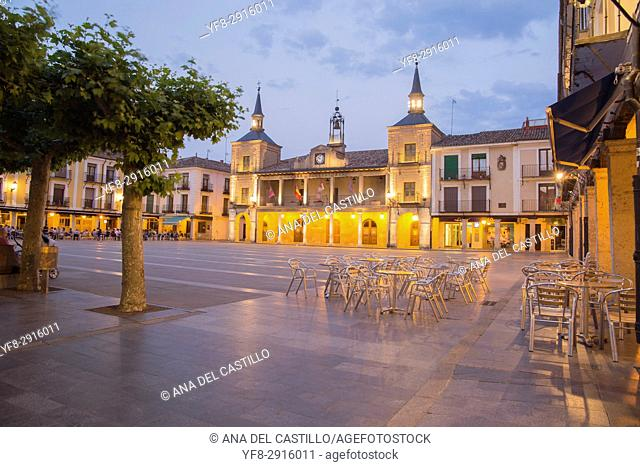 City hall square by dusk in Burgo de Osma village Soria province Castile Leon Spain on June 11, 2017