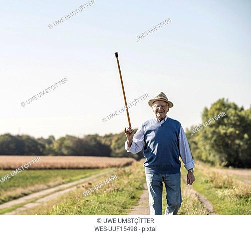 Senior man walking in the fields, greeting with his walking stick