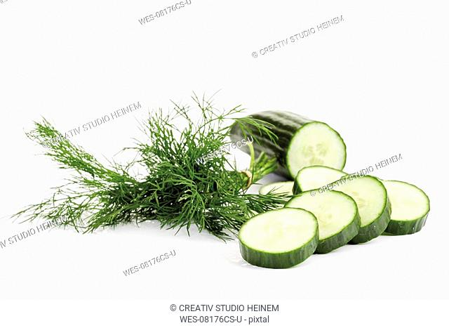 Cucumber slices and dill