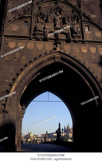 Prague, Czech Republic, Praha, Central Bohemia, Charles Bridge Gater