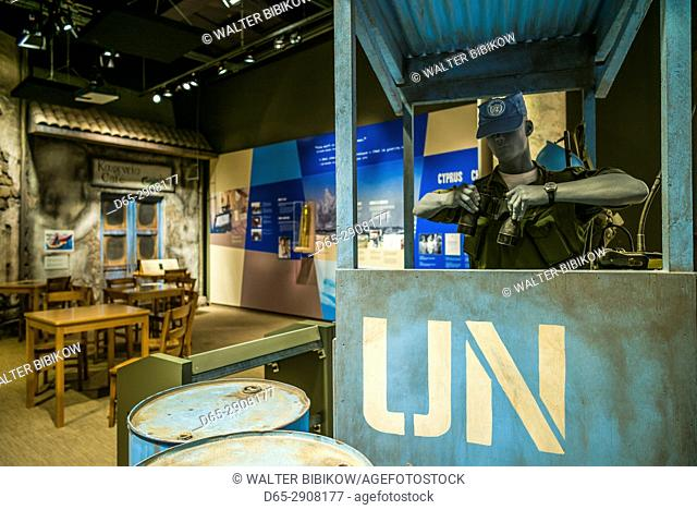 Canada, Ontario, Ottowa, capital of Canada, Canadian War Museum, diorama of UN peacekeeping outpost