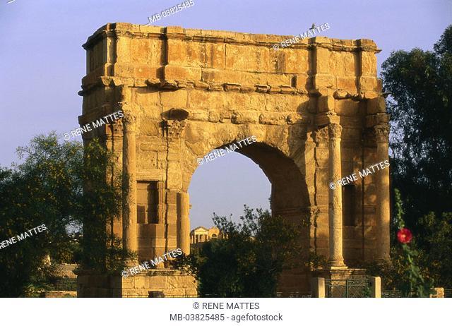Tunisia, Sbeitla, triumphal arch,  Dusk,   North Africa, sight, destination, Roman Sufetula, antique, archaeological place, archaeology, remains, ruins
