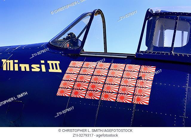 Close up of the kill tags on a WW2 USN Grumman F6F Hellcat fighter plane at the Tucson airshow in Arizona