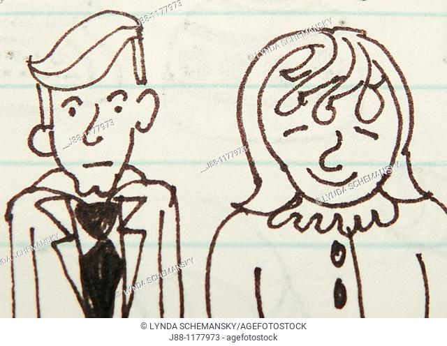 Sketchbook page with cartoon drawingof a married couple