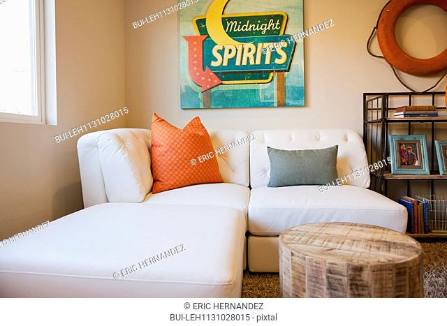 Contemporary living room with white sofa at home; Moreno Valley; California; USA